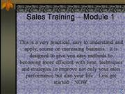 Sales Training Module 1
