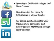 Speaking in Delhi MBA colleges and Their Courses.