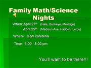 Math/Science Night 2009