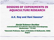 Design of Experiment for Aquaculture Res