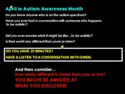 Owen Autism Awareness Month