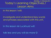 Unit 11 - Lesson 1, 2, 3, 4 &5 Intro & research inc HTML tasks