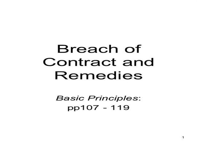 Breach Of Contract And Remedies Authorstream