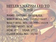 HITLER'S NAZISM LED TO WWII