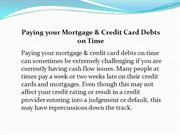 Paying your Mortgage & Credit Card Debts on Time