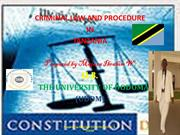 CRIMINAL LAW AND PROCEDURE IN TANZANIA