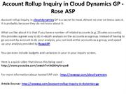 Account Rollup Inquiry in Cloud Dynamics GP - Rose ASP