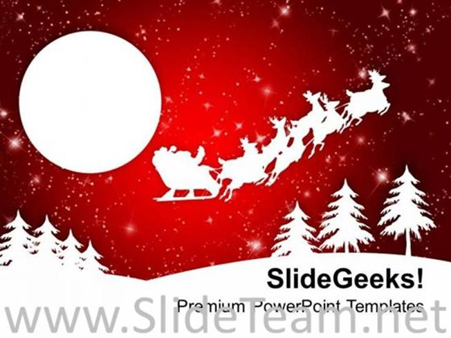 ABSTRACT BACKGROUND OF SANTA SLEIGH POWERPOINT TEMPLATE PowerPoint