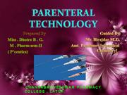 PARENTERAL TECHNOLOGY