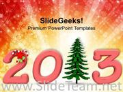 2013 WITH PINE TREE CHRISTMAS HOLIDAYS POWERPOINT TEMPLATE