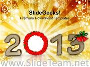 2013 WITH WREATH NEW YEAR CONCEPT POWERPOINT TEMPLATE