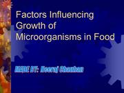 Factors Influencing Growth of Microorganisms in Food