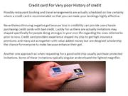 Credit card For Very poor History of credit