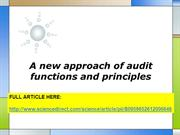 A new approach of audit functions and principles