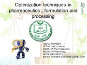 OPTIMIZATION IN PHARMACEUTICS & PROCESSING