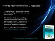 How to Recover Windows 7 Password