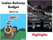 Indian Railway Budget 2013-14