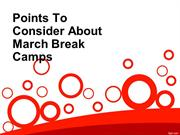 Points To Consider About March Break Camps
