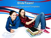 Teen_Girls_Doing_Homework_Education_PowerPoint_Templates_And_PowerPoin
