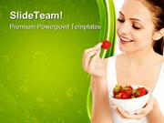 Woman_Eating_Strawberries_Health_PowerPoint_Templates_And_PowerPoint_B