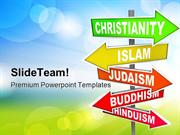 World_Religions_Signpost_Metaphor_PowerPoint_Templates_And_PowerPoint_