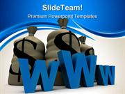 Www_With_Stack_Of_Dollars_Internet_PowerPoint_Themes_And_PowerPoint_Sl