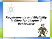 Requirements and Eligibility in filing for Chapter 7 Bankruptcy