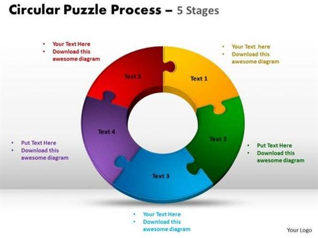 5 Stages Circular Jigsaw Puzzle Process Powerpoint Diagram