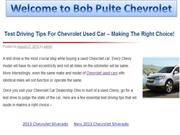 Test Driving Tips For Chevrolet Used Car - Making The Right Choice !