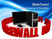 Firewall With Black Screen Computer PowerPoint Templates And PowerPoin