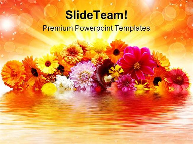 Flowers Reflection Nature Powerpoint Templates And