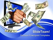 Flying Money Computer PowerPoint Templates And PowerPoint Backgrounds