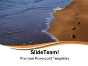 Footprints In Sand Beach PowerPoint Templates And PowerPoint Backgroun