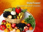 Fruits Vegetables Basket Food PowerPoint Templates And PowerPoint Back
