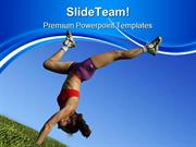 Girl Exercising Health PowerPoint Themes And PowerPoint Slides ppt des