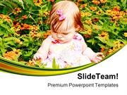 Girl Sitting In Flowers Baby PowerPoint Templates And PowerPoint Backg