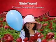 Girl With Balloon Flowers Beauty PowerPoint Themes And PowerPoint Slid