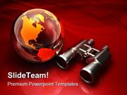 Globe And Binoculars Technology PowerPoint Templates And PowerPoint Ba