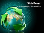 Globe With Green Arrows Earth PowerPoint Themes And PowerPoint Slides