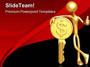 Gold Dollar Coin Key Finance PowerPoint Templates And PowerPoint Backg