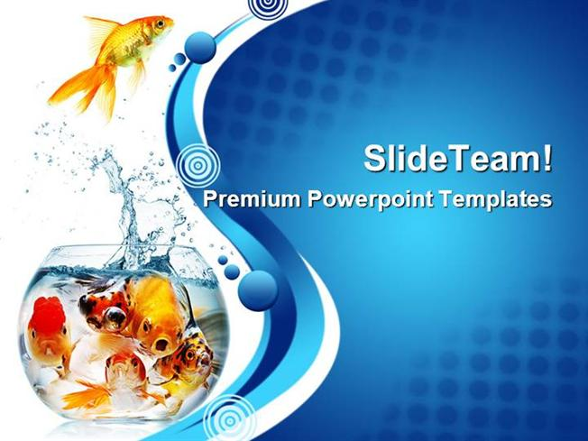 gold fish animals powerpoint templates and powerpoint backgrounds, Modern powerpoint