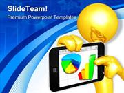 Gold Guy With Mobile Business PowerPoint Templates And PowerPoint Back