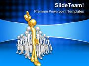 Gold Team Leader Leadership PowerPoint Templates And PowerPoint Backgr