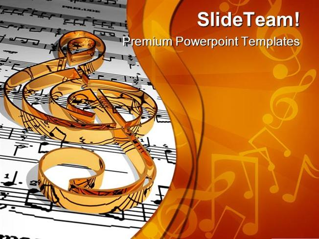 gold music symbol powerpoint templates and powerpoint backgrounds, Powerpoint templates