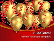 Golden Balloons With Ribbons Festival PowerPoint Themes And PowerPoint