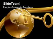 Golden Globe With Key Hole Security PowerPoint Templates And PowerPoin
