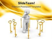 Golden Key With Men Security PowerPoint Themes And PowerPoint Slides p