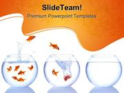 Goldfish Escape Animals PowerPoint Templates And PowerPoint Background