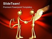 Good With Devil Handshake PowerPoint Templates And PowerPoint Backgrou