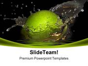 Green Apple And Bursts Food PowerPoint Templates And PowerPoint Backgr